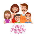 Happy family. People, parents and children concept. Cartoon vector illustration