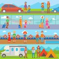 Happy family people with suitcases vacation summer travel lifestyle tourist characters vector illustration.