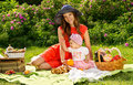 Happy family on picnic in nature Stock Photo
