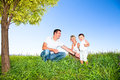 Happy family on picnic in park Royalty Free Stock Photos