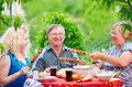 Happy family on picnic summer outdoor together Royalty Free Stock Photography
