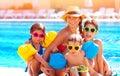 Happy family at the pool Royalty Free Stock Photo