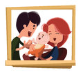 Happy family portrait  illustration cartoon character Royalty Free Stock Photo