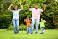 Happy family portrait outdoors Stock Images
