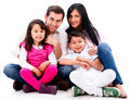 Happy family portrait smiling isolated over a white background Royalty Free Stock Photos