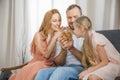 Happy family with rabbit Royalty Free Stock Photo