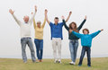 Happy family raised their hands standing on lawn Royalty Free Stock Photography