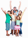 Happy family raising hands together Stock Images