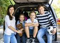 Happy family ready for a road trip Royalty Free Stock Photo