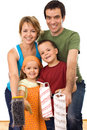 Happy family ready to paint Royalty Free Stock Photo
