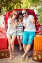 Happy family ready to trip Royalty Free Stock Photo