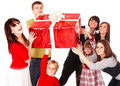 Happy family with red gift box. Stock Image