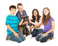 Happy Family With Rescue Dog Royalty Free Stock Photo