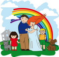 Happy family rich house Royalty Free Stock Image