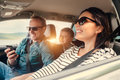 Happy family riding in a car Royalty Free Stock Photo