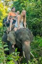 Happy family riding on an elephant, woman sitting on the elephant`s neck Royalty Free Stock Photo