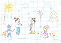 Happy family sculpts snowman children s drawing Royalty Free Stock Images