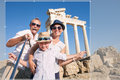 Happy family selfie travel photo cropping for share in social ne network Royalty Free Stock Photo