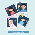 Happy family set of polaroid photo frames in vector Royalty Free Stock Image