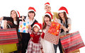 Happy family with shopping bag group. Royalty Free Stock Photo