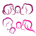 Happy family silhouette symbols collection Royalty Free Stock Photo