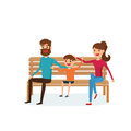 Happy family sitting on a bench in the park. Father, mother and children. Flat design style. Royalty Free Stock Photo