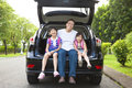 Happy family sitting in the car asian Royalty Free Stock Photos