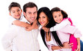 Happy family smiling portrait together isolated over a white background Stock Photography