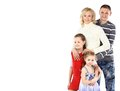 Happy family smiling together isolated over a white background Royalty Free Stock Photography