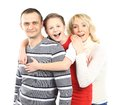 Happy family smiling together isolated over a white background Royalty Free Stock Image