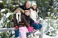 Happy family in the snow Royalty Free Stock Images