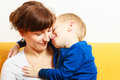 Happy family. Son boy hugging his mother. Love. Royalty Free Stock Photo