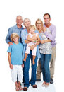image photo : Happy family standing together on white