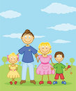 Happy family stick figure style illustration Royalty Free Stock Photos