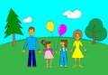 Happy family in style of children s drawing no gradient Stock Photo