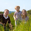 Happy family in summer outdoors Royalty Free Stock Photos
