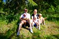 Happy family with three children outdoors Royalty Free Stock Photo