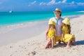 Happy family of three enjoying beach vacation summer Royalty Free Stock Image