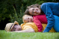 Happy family of three outdoors Stock Image