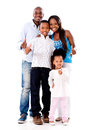 Happy family with thumbs up isolated over a white background Stock Photos