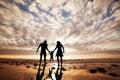 Feliz familia mano en mano en playa