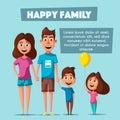 Happy family in travel. Cartoon vector illustration