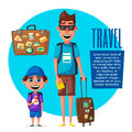 Happy family in travel. Journey of dad and son. Cartoon vector illustration
