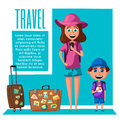 Happy family in travel. Journey of mom and son. Cartoon vector illustration