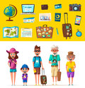 Happy family in travel. Journey of parents and child. Cartoon vector illustration