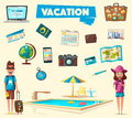 Happy family in travel. Journey of people. Cartoon vector illustration