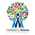 Happy family tree colorful logo Royalty Free Stock Photo