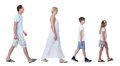 A Happy Family With Two Children Walking In A Line Royalty Free Stock Photo