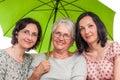 Happy family under green umbrella Royalty Free Stock Photo