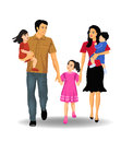 Happy family vector consisting of dad mom son daughter on a white background Royalty Free Stock Photography